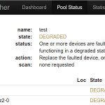 zfswatcher screenshot: pool status with failed disk