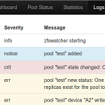 zfswatcher screenshot: logs